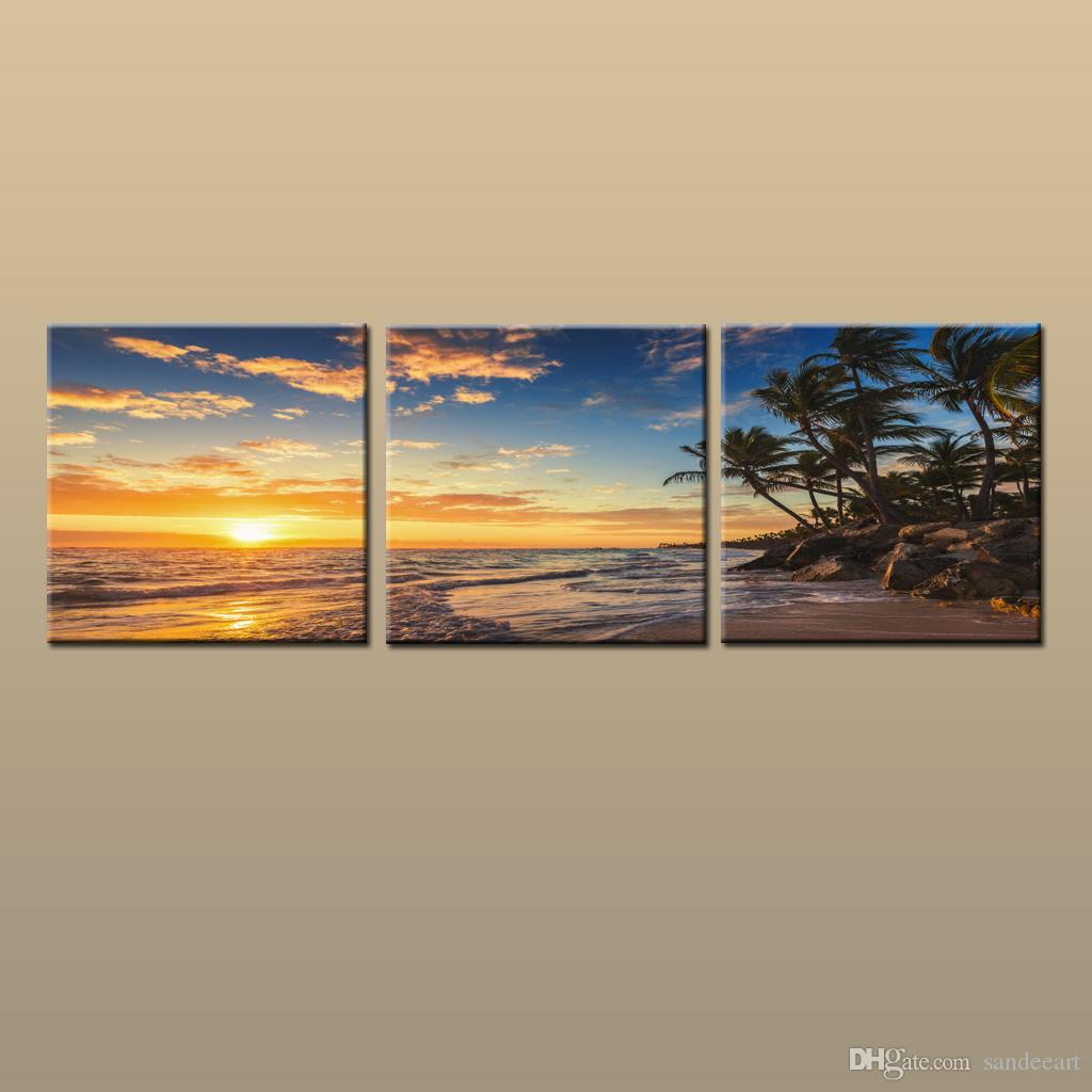 Framed/Unframed Hot Modern Contemporary Canvas Wall Art Print Painting Beach Sunset Seascape Picture 3 piece Living Room Home Decor ABC264