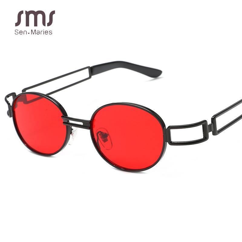 75e6ecb96b Compre Retro Hueco Gafas De Sol Ovaladas Mujeres Hombres Nuevos Pequeños  Marcos Rojos Claros Tonos Sunshion Gafas De Sol Para Dama Único Gafas Uv400  A ...