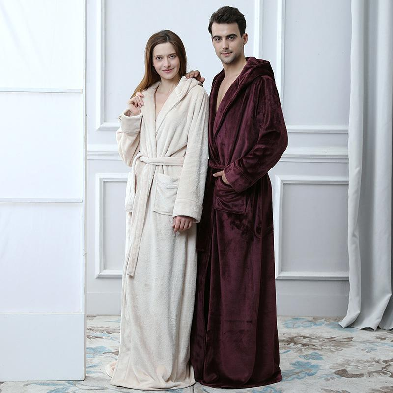 2019 Lovers Flannel Hooded Maxi Long Belt Pocket Bathrobe Men And Women S  Thick Warm Kimono Robes Winter Solid Couple Dressing Gown From Whitecloth 4e9803965