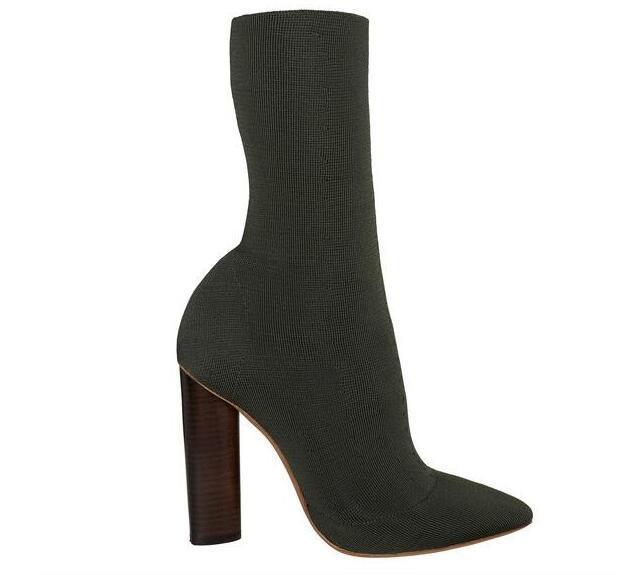 82d554aeb Compre Botines Cortos Elásticos Negros Zapatos De Tacón Grueso Zapatos De  Mujer Con Punta Estrecha Botas De Otoño Calcetines De Punto Botines Mujer  Invierno ...