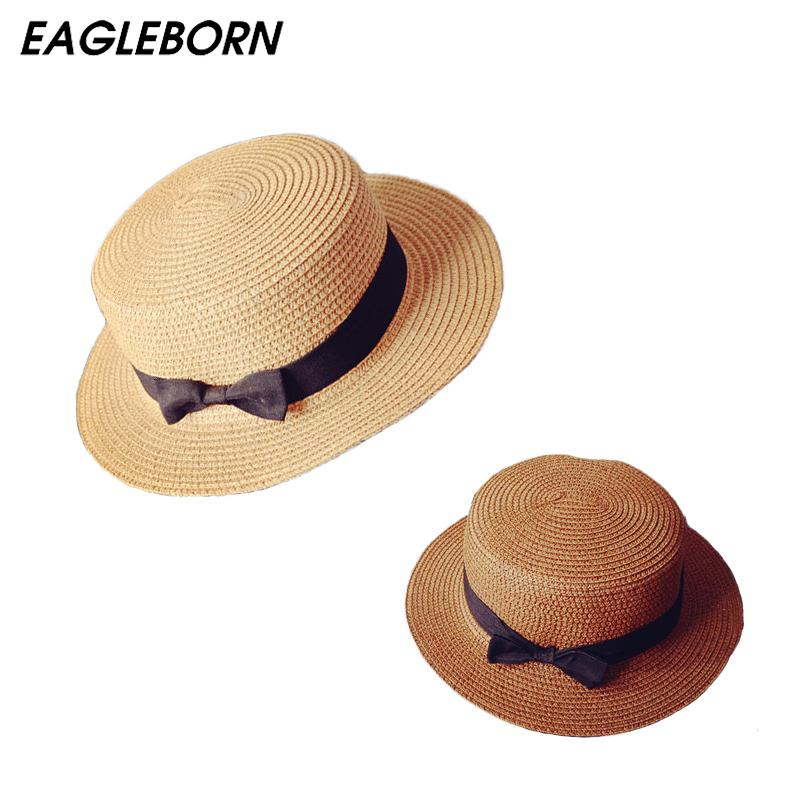 bd604ba86fab3 EAGLEBORN Lady Boater Sun Caps Ribbon Round Flat Top Straw Beach Hat Panama  Hat Summer Hats For Women Straw Snapback Gorras Wide Brim Hat Tea Party Hats  ...