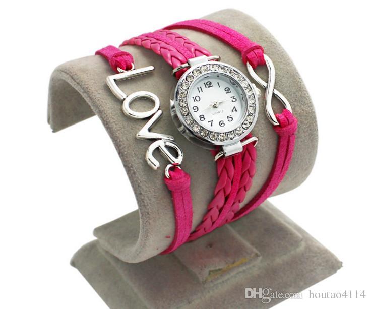 iSpot wholesale2018 fashion woven bracelet watch love watch quartz watch alloy Love double heart-shaped love woven multi Bracelet