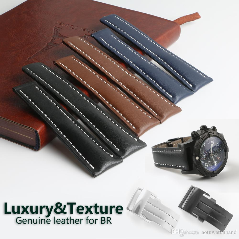 77d3cd5baaf Deployment Buckle Clasp Calf Leather Skin Genuine Leather Watch Band Watch  Strap For Breitling Watch Man 20mm 22mm 24mm Black Blue With Tool Nato Watch  ...