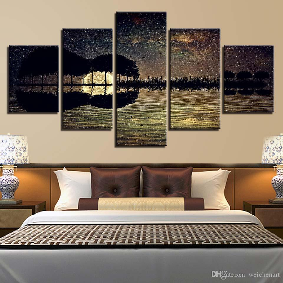 2019 HD Home Decoration Room Poster 5 Panel Guitar Music Seaview Wall Art  Pictures Printed Abstract Cuadros Painting Canvas Frame From Weichenart, ...