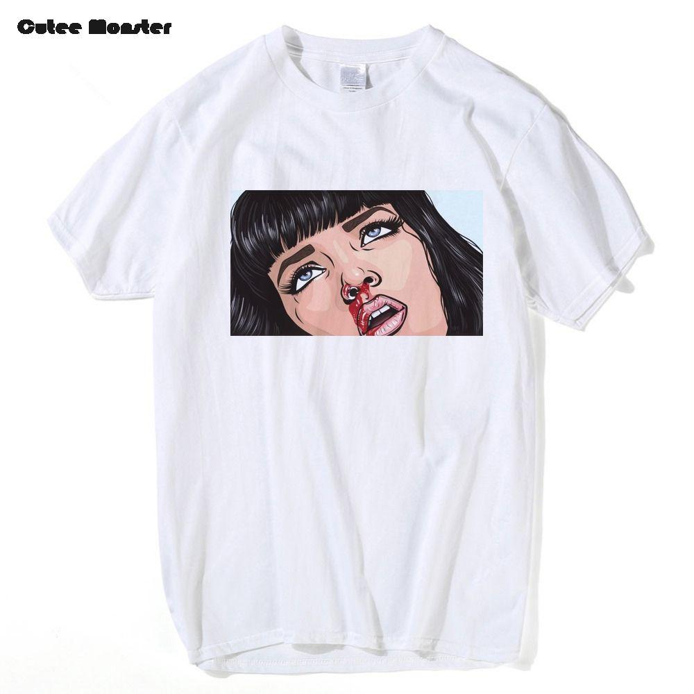 584344160 Movie Mia Wallace Pulp Fiction T Shirt Men Fashion Summer Quentin Tarantino T  Shirt Cotton Hip Hop Girl Printed Top Tees Canada 2019 From Shuokai1994, ...
