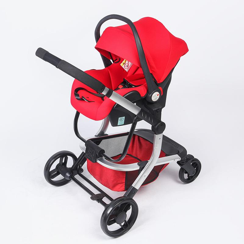 High View Baby Stroller With Newborn Car Seat Sleeping Carrying Basket Safety Seat Multiple Baby Stroller 2 In 1 Pram Push Car