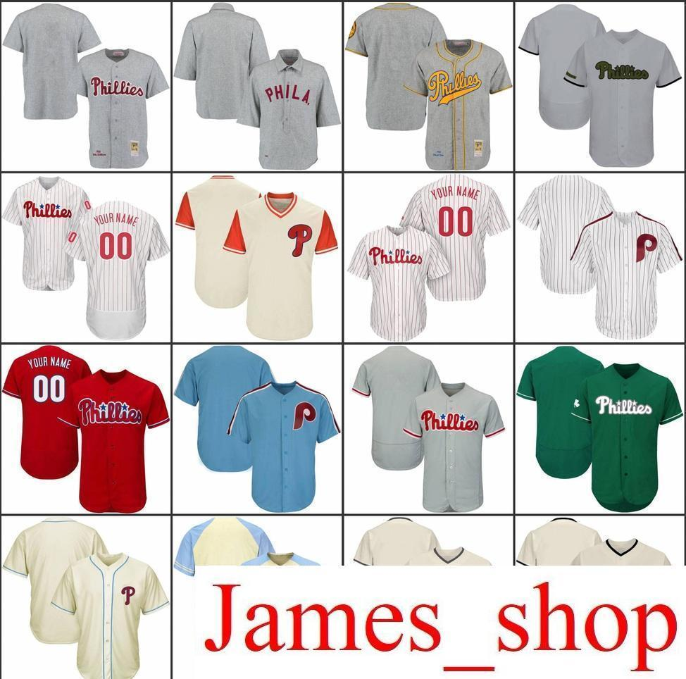 2019 Custom Mens Womens Youth Phillies Baseball Jerseys White Gray ... 63d6ddc08