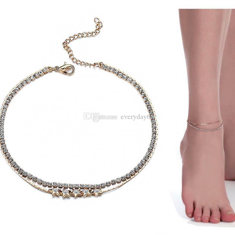 Crystal Tennis Gold summer beach Anklet Foot Chain Leg Bracelet Sparkling Ankle Bracelet Barefoot jewelry