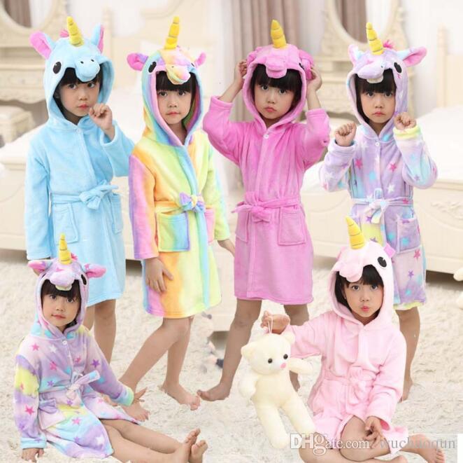 9dab9f0520df Bathrobe Girls Pajamas Baby Bath Robe Rainbow Unicorn Pattern ...