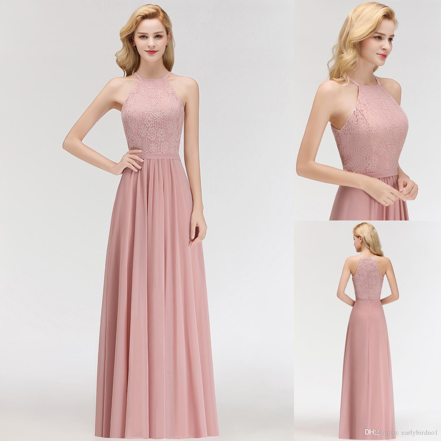 667f529b914 Real Image Cheap Designer Blush Pink Bridesmaid Dresses Sexy Halter Lace  Chiffon Floor Length Maid Of Honor Gown Under  50 CPS1072 Girl Dresses For  Wedding ...
