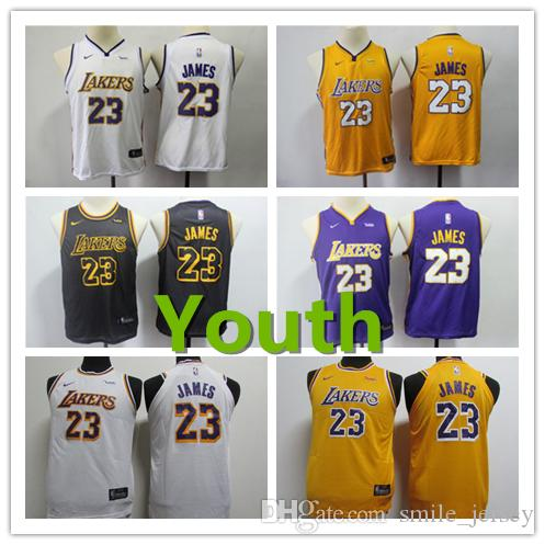 a06315a47 New Youth 23 LeBron James Los Angeles Jersey Lakers Kids Basketball ...