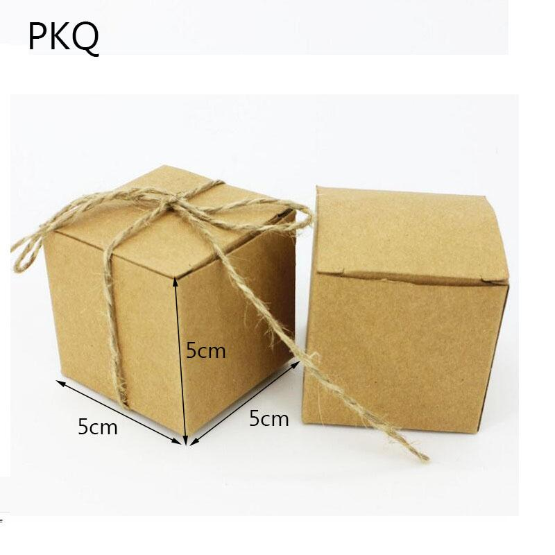 Wedding Gift Boxes 100pcs Retro Kraft Square Shape White Wedding Favor Gift Box Small Party Candy Box Event Party Supplies 5 29