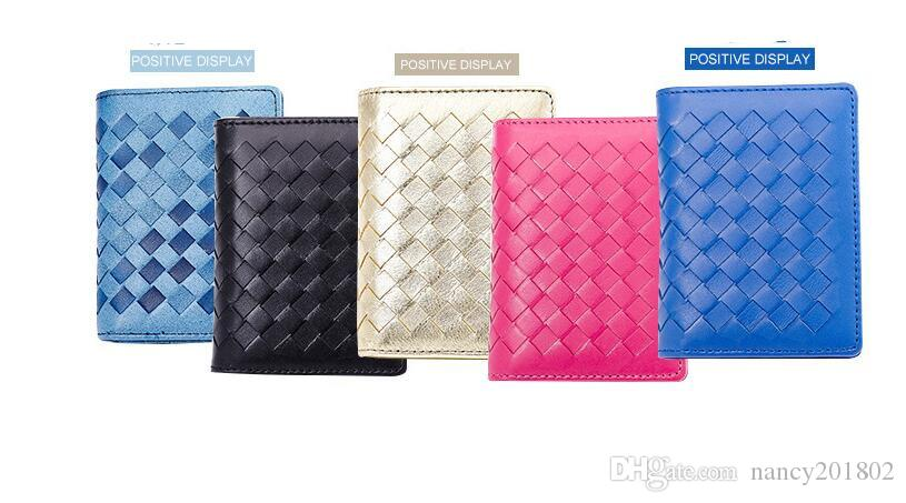 wholesale Woven bag hand-woven lambskin wallet bank card Holder Capacity Business ID Holders Organizer