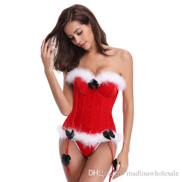 Weihnachtsmann-Körper-Korsett-Gewohnheit weiße Federn rote Mieder-Frauenkorsetts mit pelzigem Velours-Strumpfhalter verziert trägerlosen Former OLN17940