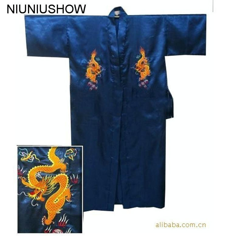 2019 Navy Blue Chinese Men s Satin Silk Robe Embroidery Kimono Bath Gown  Dragon Size S M L XL XXL XXXL S0103 E From Baicao a0ed3e022