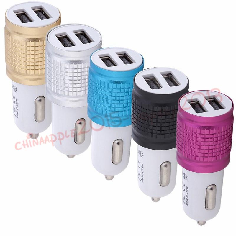 Car Charger Universal Metal Dual USB Port 2.1 A Led Charging Adapter For iPhone 6 7 8 Samsung S8 Tablet Nokia