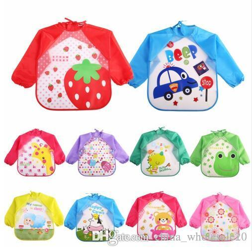 Children Bib Burp Baby Todders Waterproof Long Sleeve Art Smock Bibs Apron  Cartoon Soft Feeding Baberos Bavoir Clothing Womens Apron Blueapron From ... fb6b201470