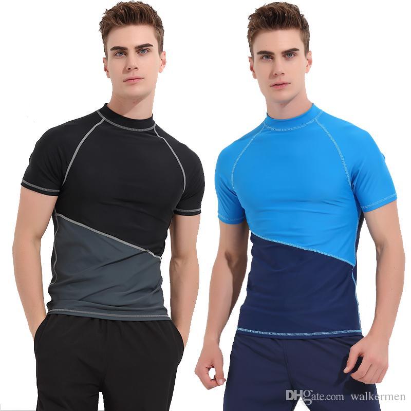 14c43eaa910 2019 2018 Arrival Men Rashguard Short Sleeve Wetsuit Shirt Mens Quick Dry Surfing  Swimwear Tops Anti UV Windsurf Swim Rash Guard T Shirt 3XL J From ...