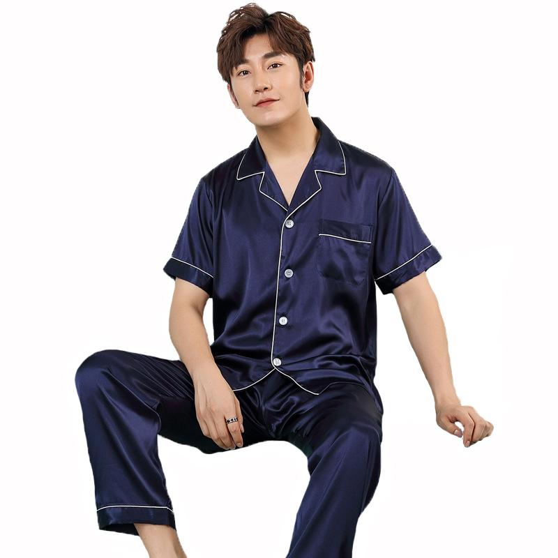 0d71a4c203 2018 Summer Men Casual Pajamas Set Male Solid Turn-Down Strap ...