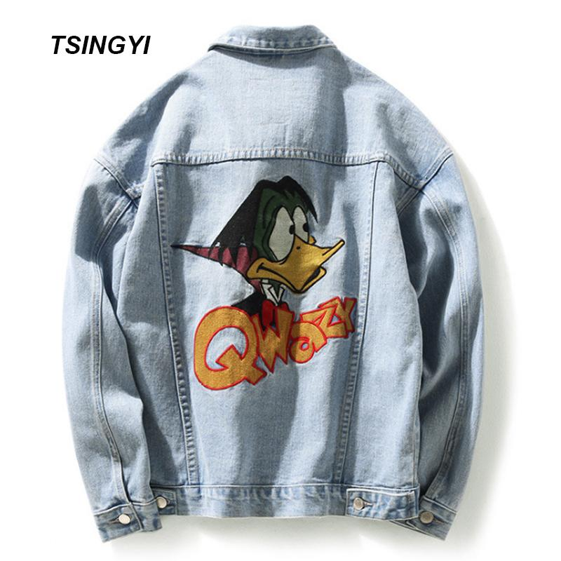 Acquista Tsingyi Appliques Cartoon Duck Vintage White Wash Donna Uomo Giacca  In Denim Turn Down Collar Manica Lunga Bomber Jeans Jacket A  60.33 Dal  Paluo ... 2ed17619afb