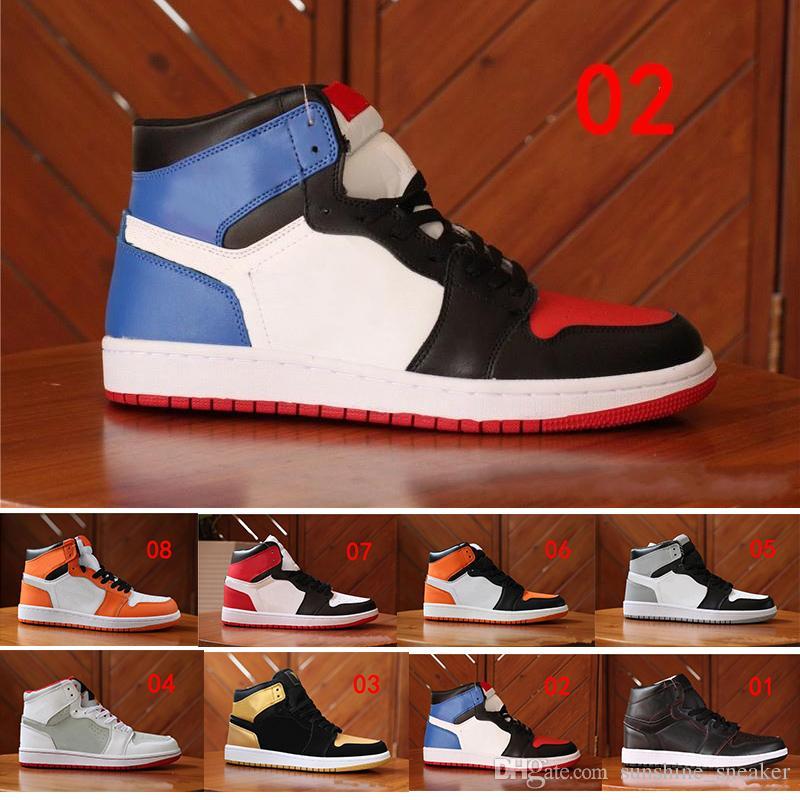9c149a96332c57 Compre Nike Air Jordan 1 Venta Al Por Mayor 2018 Nuevos OG 1 Top 3 Zapatos  Para Mujer Para Hombre Trigo Bred Toe Chicago Prohibido Royal Blue Fragment  ...