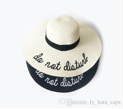 9dd05611 2018 Letter Embroidery Cap Big Brim Ladies Summer Straw Hat Youth Hats For  Women Shade Sun Hats Beach Hat Free Delivery Winter Hats For Women Beach  Hats ...