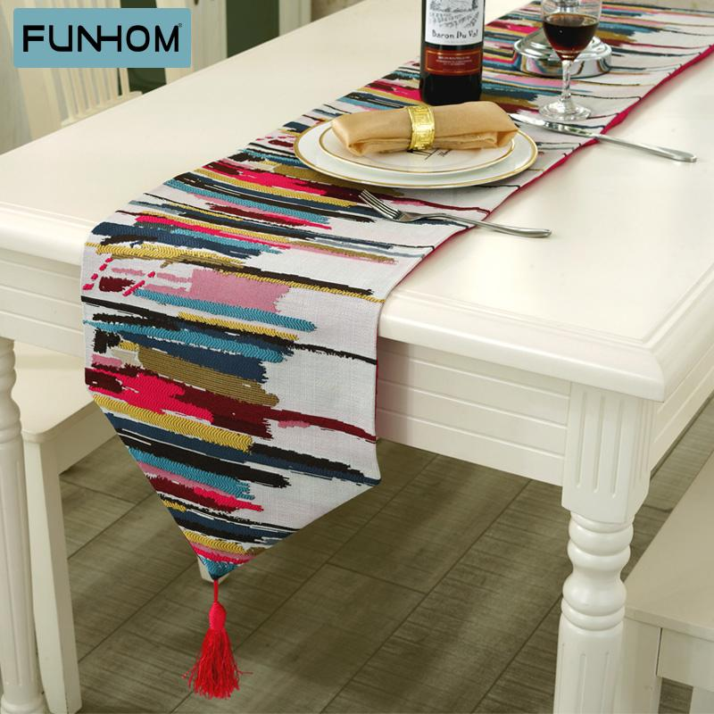 European High Grade Linen Cotton Colorful Jacquard Strip Table Runner  Placemats Upscale Fabric Coffee Table Flag Bed Runner Purple Table Runners  Quilt Table ...