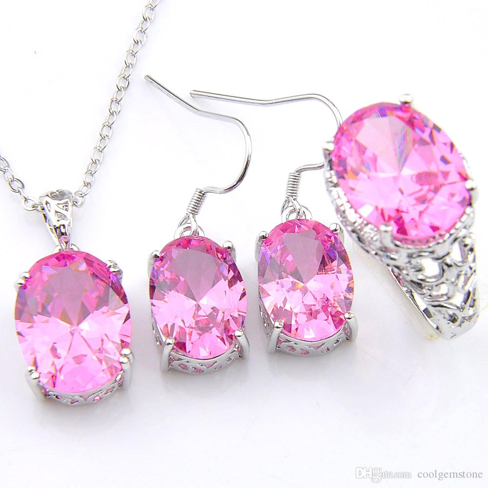 Set Wedding Jewelry Sets Oval Pink Crystal Zircon 925 Sterling ...