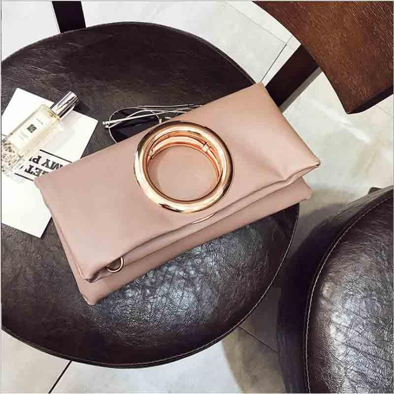 b01ee50c1c Women S Day Clutches Bag High Quality Brand Designer PU Leather Big Ring Fold  Over Messnger Bag Ladies Envelope Shoulder Purse Wholesale Bags Leather Bags  ...