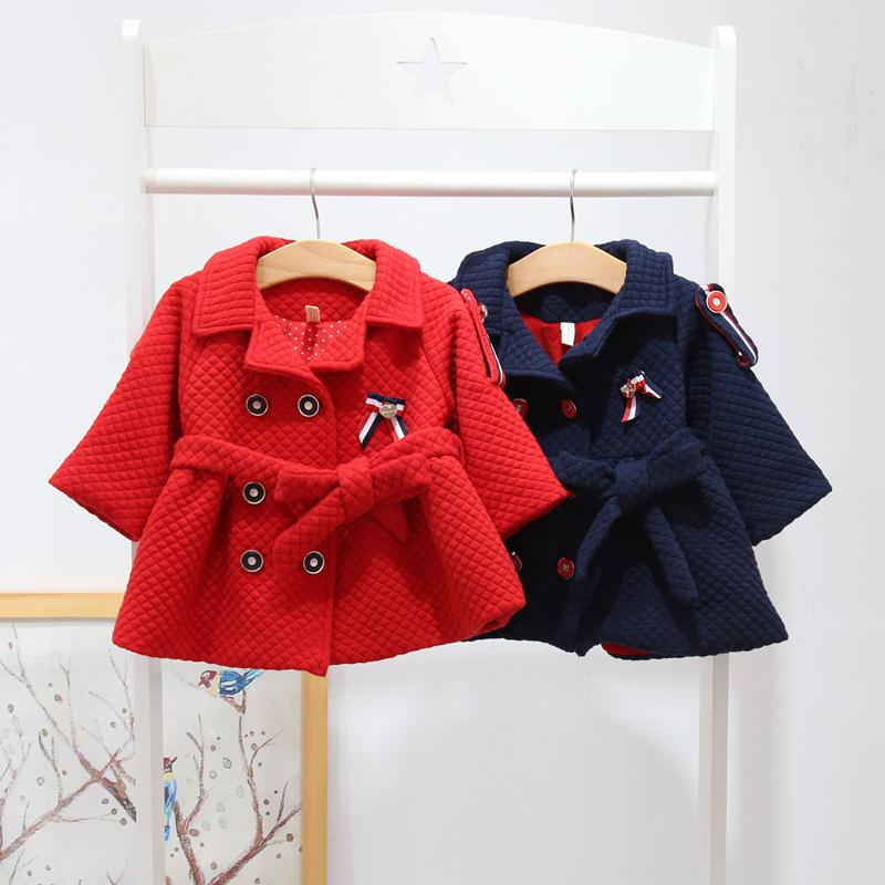328ae7f7923d Baby Jacket Winter Girls Turn Down Collar Cotton Long Sleeve Double ...