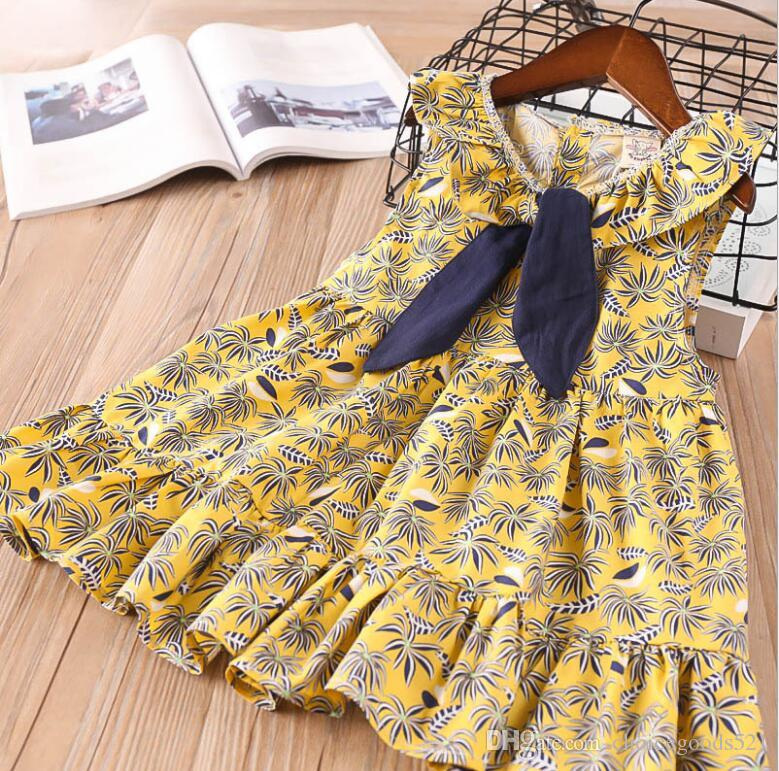 fa2c0b4152 Girl Princess Dress Baby Girl Summer Leaf Dress Girl Fasion Yellow Floral  Dresses 6 p/l