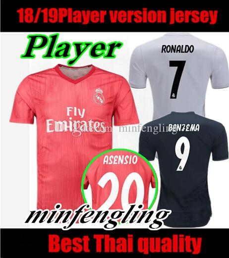 76023ffad 2019 Player Version 2018 2019 Real Madrid Soccer Jerseys Home 2018 2019  Champions League 13 Cups Away Bale Isco Asensio Football Shirt From  Minfengling