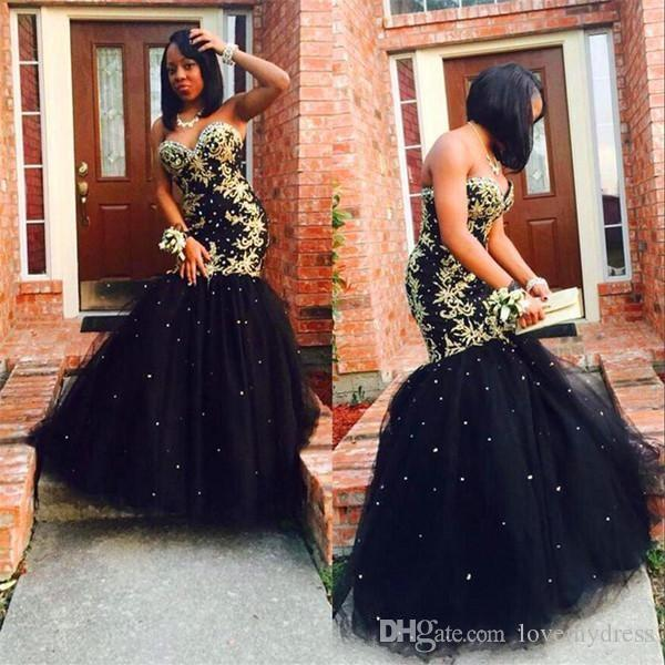 Sexy Gold Embroidery Black Tulle Mermaid Evening Dresses Formal Gowns Long Sweetheart Sequin Beaded Corset Back Cheap Prom Pageant Dress
