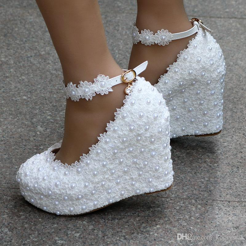 Sweet white elegant flowers girl shoes lace wedge pearls wedding shoes bride dress shoes