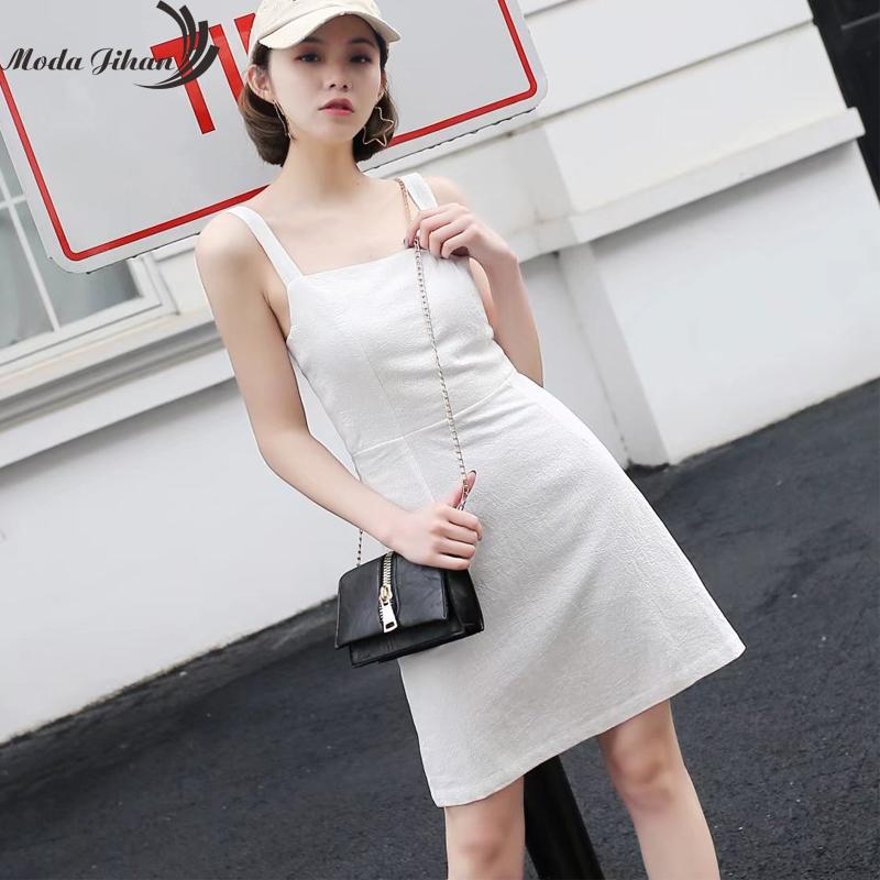 8aaa8a5d0e4d Moda Jiahn New Women Mini Dress Square Neck with Shirred Exposed Back Casual  Tank Dress Spaghetti Strap Cotton Linen Dresses Dresses Cheap Dresses Moda  ...