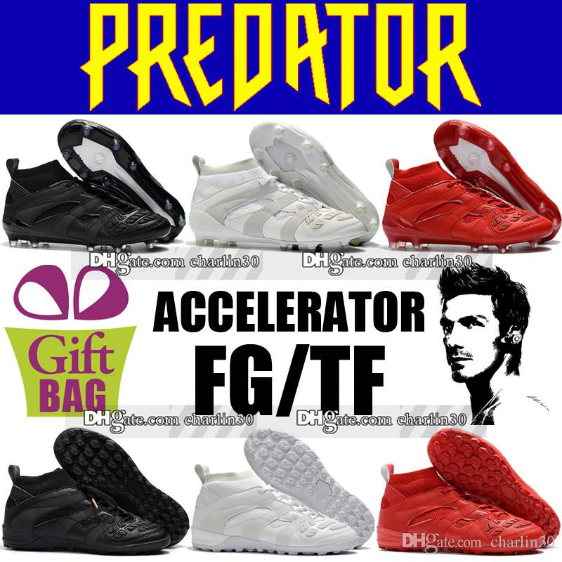 dbec1d50e Wholesale 2018 New Mens High Top Turf Soccer Cleats Socks Predator  Accelerator DB FG Football Boots Indoor TF David Beckham Soccer Shoes Red  Ladies Boots ...
