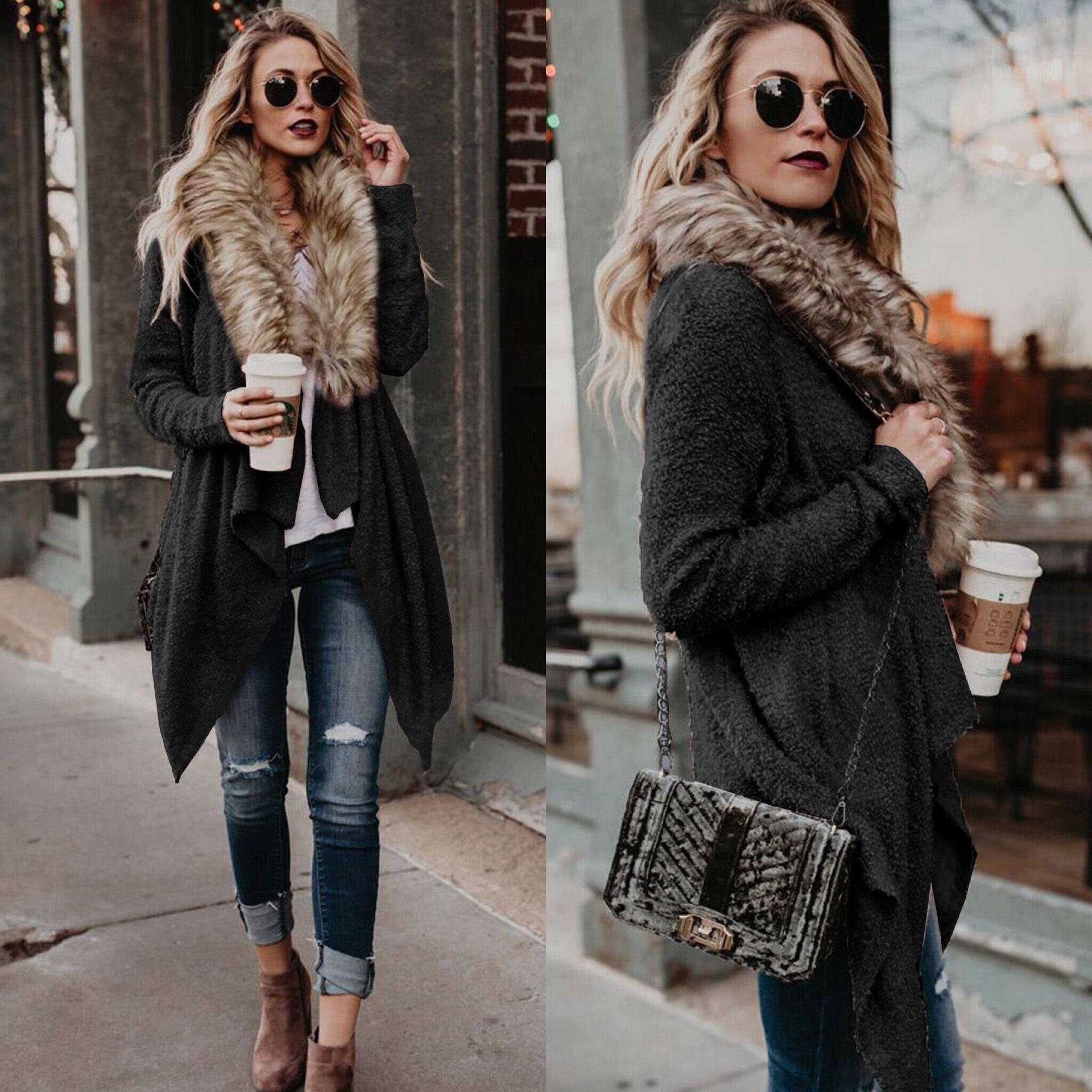 d033f018c678 2019 Wholesale 2018 New Style Women Cardigan With Fur Collar Plush  Windbreaker Women Sweaters Street Style Lapel Personality Designer Sweater  From Szghhcool ...