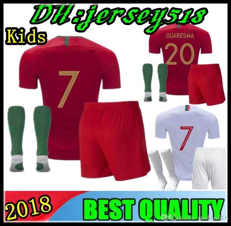 d9a69a6d5 2018 World Cup Soccer Jersey Home Kids Jerseys 18 19 Away Silva Nani ...