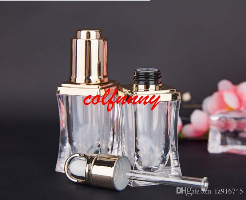 Fast Shipping 10ml High-grade acrylic golden perfume/essential oil/cosmetics glass packing bottle Cosmetic Containers Customized