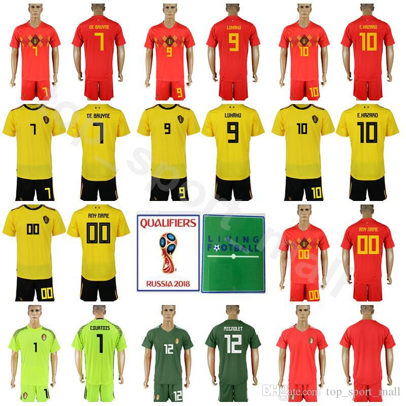 wholesale dealer 4eeee c0caa 2018 World Cup Soccer 10 Eden Hazard Belgium Jersey Set Men 9 Romelu Lukaku  7 Kevin De Bruyne Football Shirt Red Yellow Kits With Short Pant