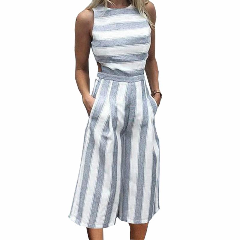 d8965254b5e Women S Sleeveless Striped Jumpsuits Casual Boho Beach Wide Leg Pants  Rompers Jumpsuit Pockets Female Plus Size Overalls GV363 UK 2019 From  Bibei02