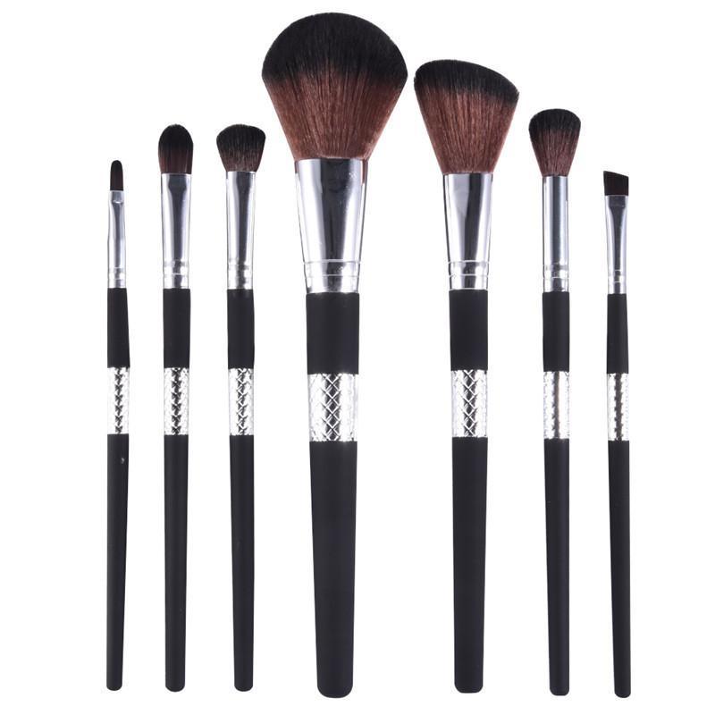 7 adet Profesyonel Makyaj Fırça Seti Siyah Altın Yüz Pudra Fondöten Kapatıcı Göz Farı Eyeliner ile Kozmetik Fırçalar Makyaj Aracı PU Çanta