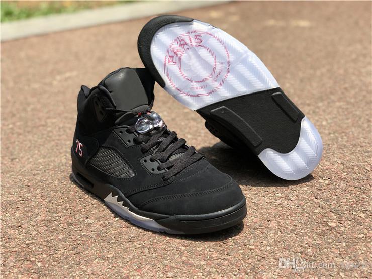 lowest price 5ecfe a7557 Newest Best 5 BCFC Paris Saint-Germain 2030Jordan 5S PSG Black  White-Challenge Red 75 Basketball Shoes Authentic Sneakers Box AV9175-001