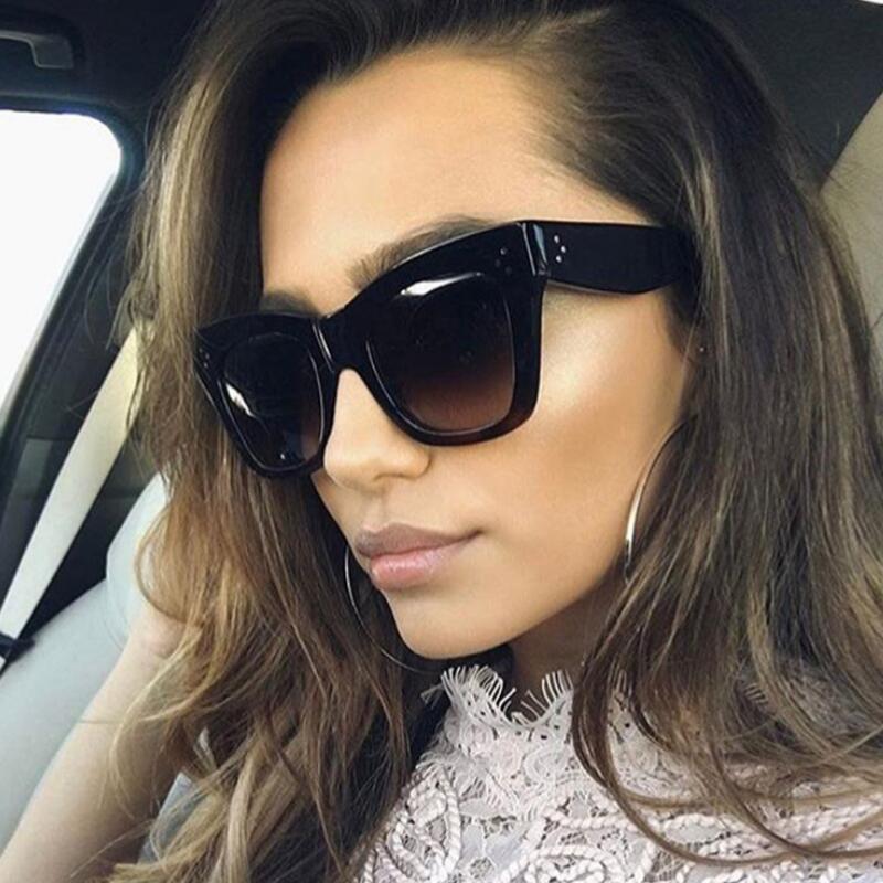5aafc97ea5c 2018 Rivet Cat Eye Sunglasses Women Luxury Brand Designer Sun Glasses For Female  Oversized Eyewear Celebrity Kim Kardashian UV Sunglasses Uk Polarised ...