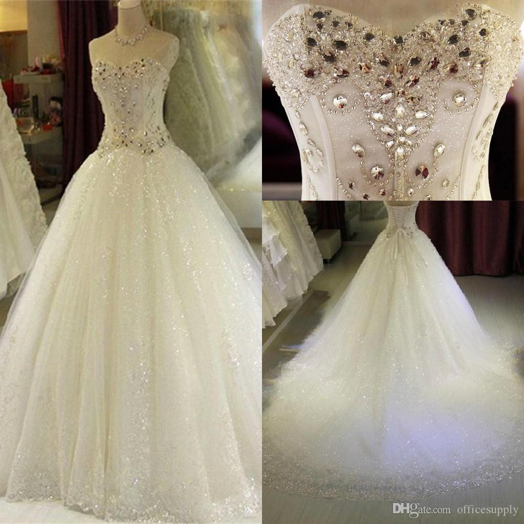 95fc7614c6 Crystal Rhinestones Sweetheart Wedding Dresses Luxury A Line Lace Sequins  Corset Back Bridal Gowns Custom Made