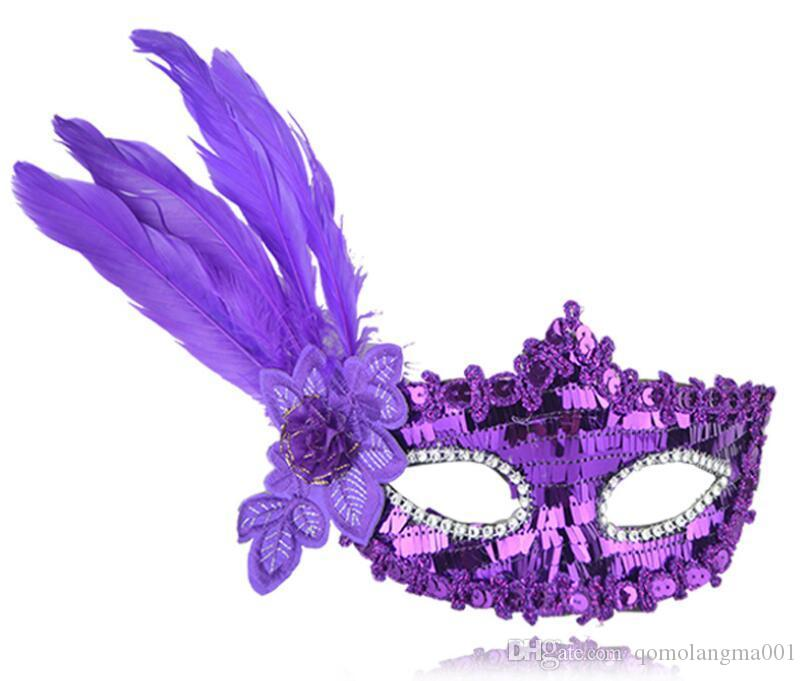 Dance party masks, Halloween birthday parties, props, Christmas gifts, feather strips, sequins, embroidered masks