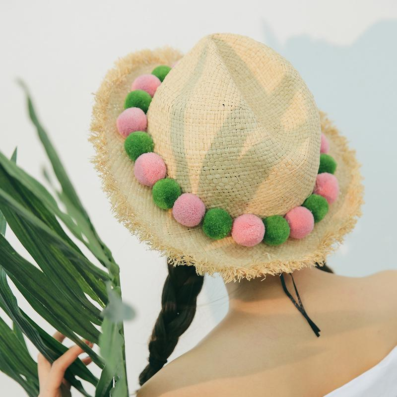 da61cb011415a8 Summer Lafite Straw Hat Outdoor Sunshade Beach Female Hair Ball Jazz ...