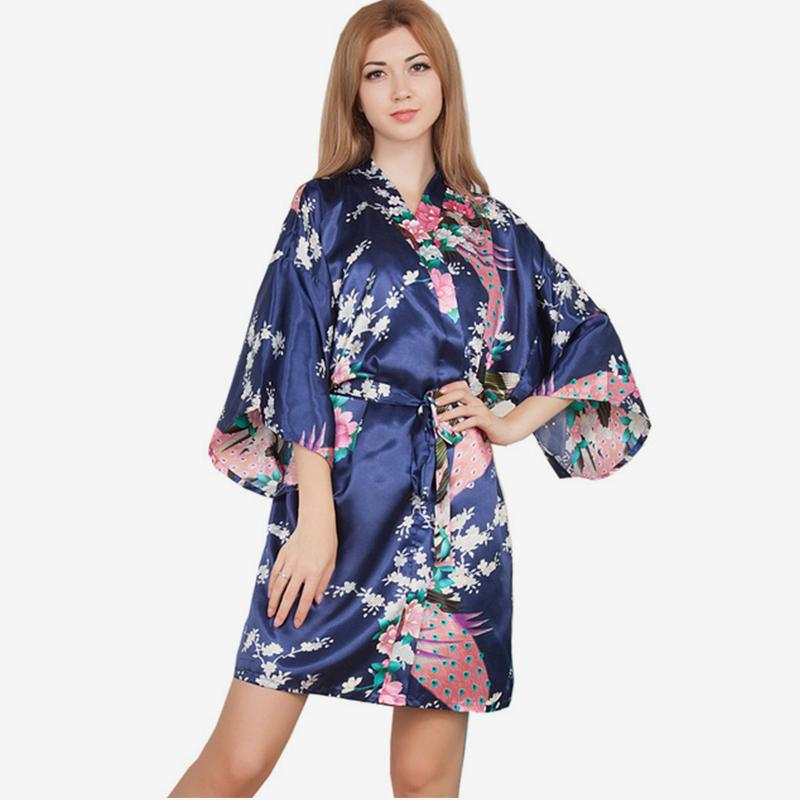 Silk Satin Print Floral Women Robes Long Sleeve Sexy Lingerie Sashes Women's Bathrobe 2018 Autumn Mini Fashion Night Dress