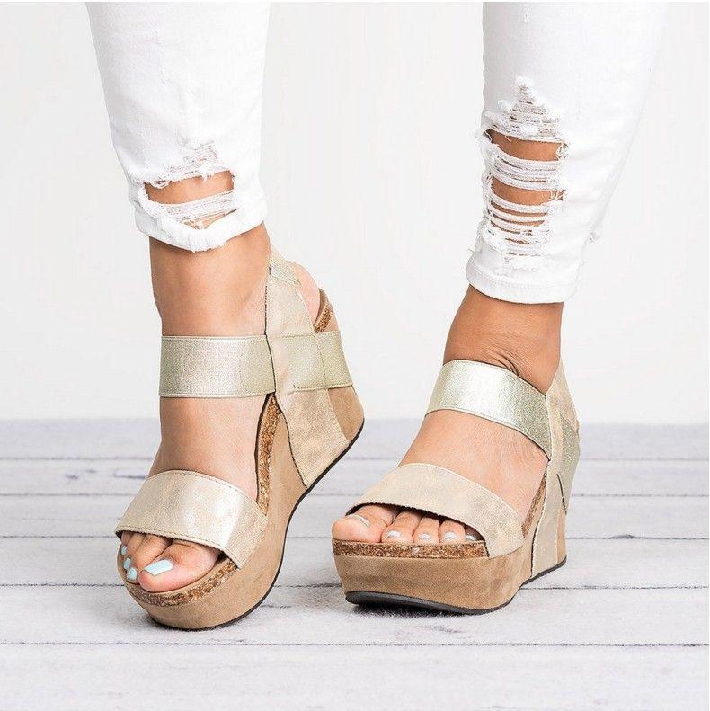 XingDeng Ladies Party Wedge Pu Leather Flat Sandal Plus Size 347-44 Women  Wedge Platform Cross Strap Summer Sandals Shoes Women s Sandals Cheap  Women s ... bc07180aa32a