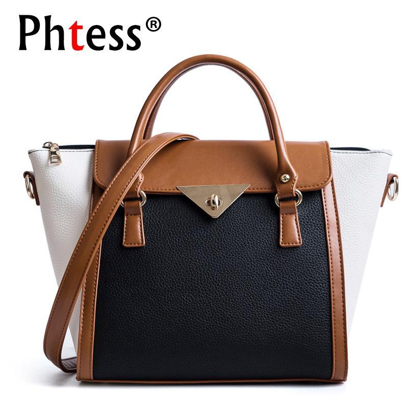 ca472de7d66e 2018 Luxury Leather Handbags Women Bags Designer Brand Trapeze Tote Bags Sac  A Main Female Shoulder Bag Panelled Ladies Hand Bag Leather Backpack Purse  ...